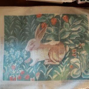 Needlepoint pillow Rabbit